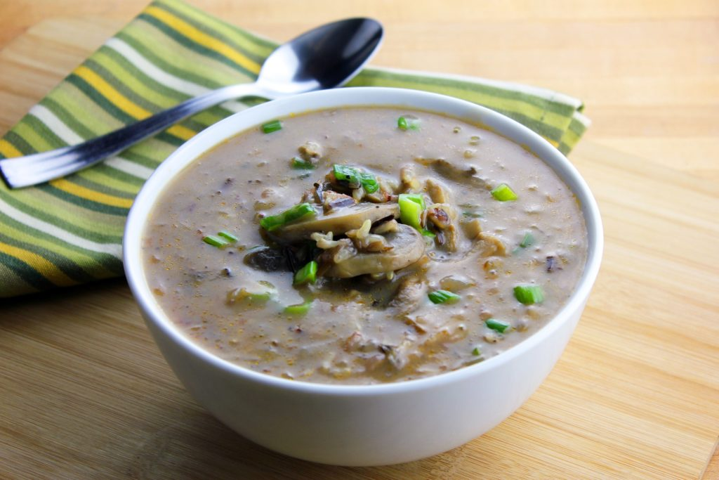 Cream of Wild Mushroom Soup with Wild Rice
